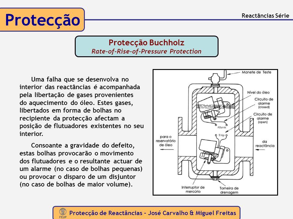 Protecção de Reactâncias – José Carvalho & Miguel Freitas Protecção Reactâncias Série Protecção Buchholz Rate-of-Rise-of-Pressure Protection Uma falha