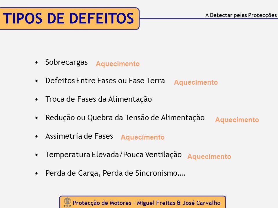 TIPOS DE DEFEITOS Protecção de Motores – Miguel Freitas & José Carvalho A Detectar pelas Protecções Sobrecargas Defeitos Entre Fases ou Fase Terra Tro