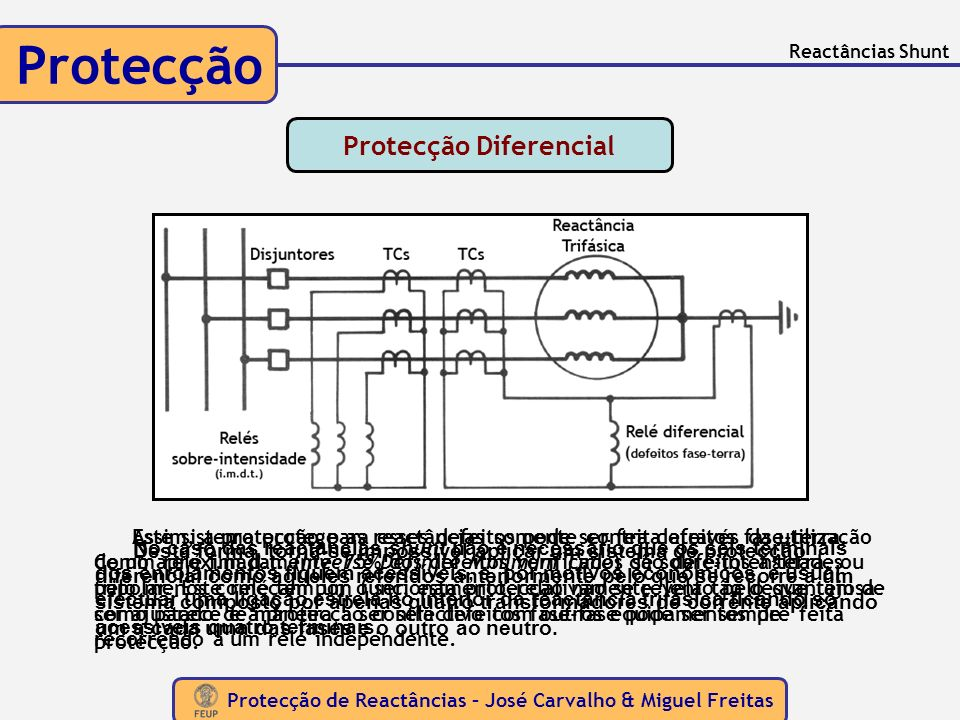 Protecção de Reactâncias – José Carvalho & Miguel Freitas Protecção Reactâncias Shunt No caso das reactâncias shunt não é necessário que os seis termi