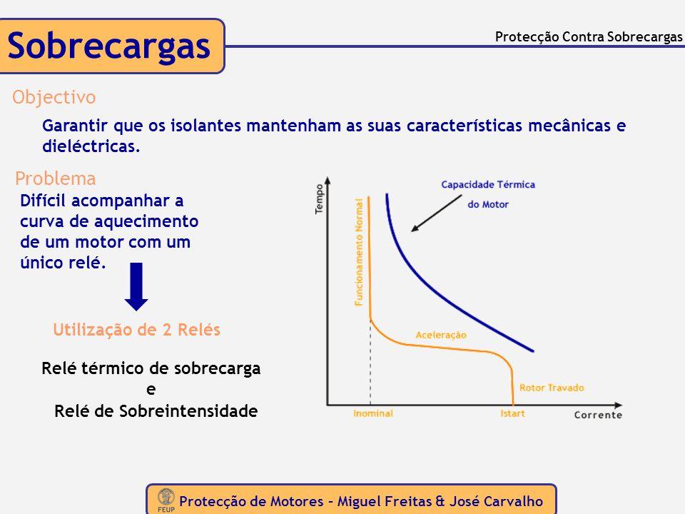 Protecção de Motores – Miguel Freitas & José Carvalho Protecção Contra Desequilíbrios entre Fases ASSIMETRIAS Causas Possibilidade de uma das fases do sistema de alimentação ser interrompida Zona afectada por distorção harmónica Relé Electromecânico Relés de Assimetria de Correntes Comparam as correntes duas as duas: Ia com Ib, e Ib com Ic Desequilíbrio mínimo detectável depende da construção do relé.