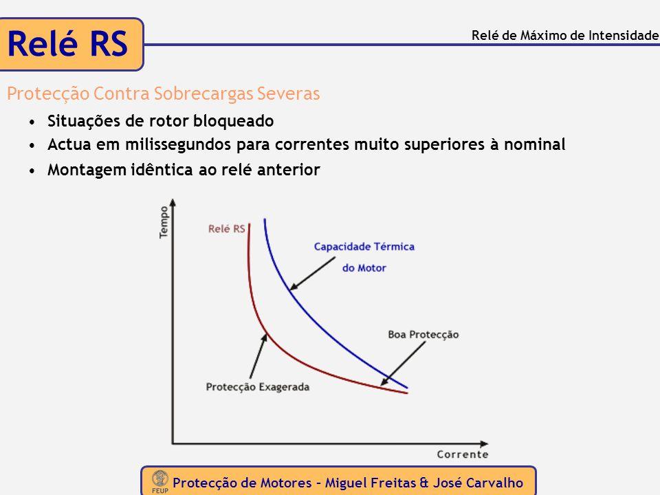 Protecção de Motores – Miguel Freitas & José Carvalho Relé de Máximo de Intensidade Relé RS Protecção Contra Sobrecargas Severas Situações de rotor bl