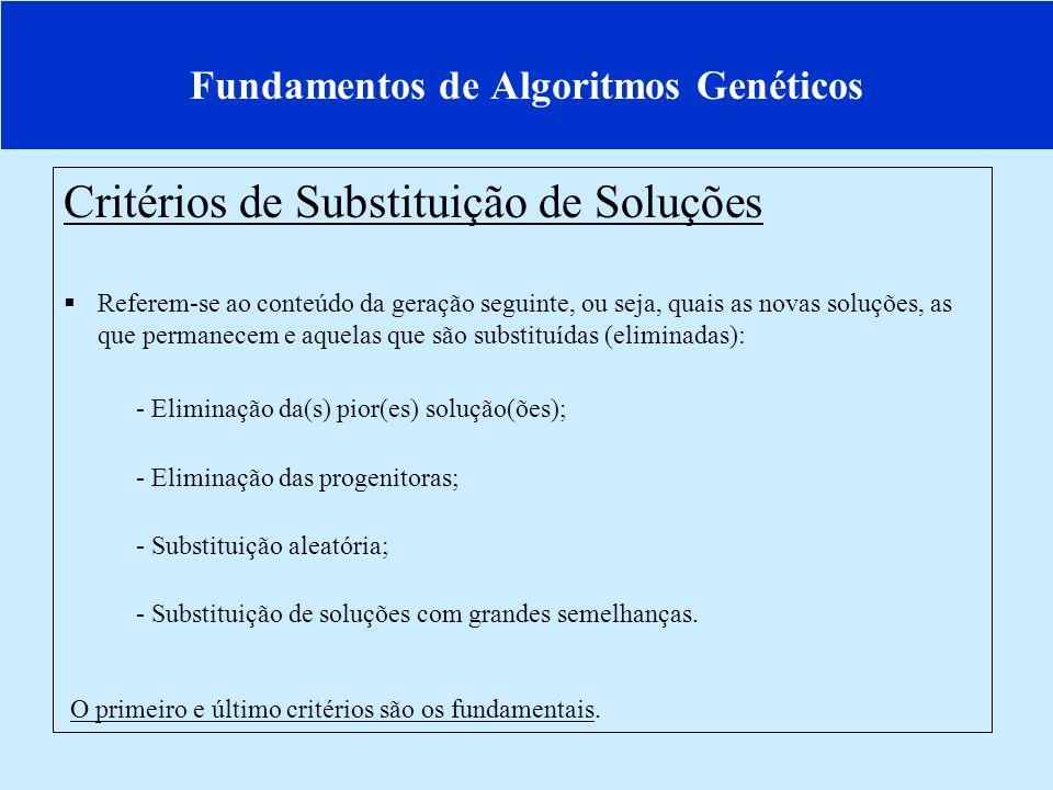 Fundamentos de Algoritmos Genéticos Critérios de Substituição de Soluções Referem-se ao conteúdo da geração seguinte, ou seja, quais as novas soluções, as que permanecem e aquelas que são substituídas (eliminadas): - Eliminação da(s) pior(es) solução(ões); - Eliminação das progenitoras; - Substituição aleatória; - Substituição de soluções com grandes semelhanças.