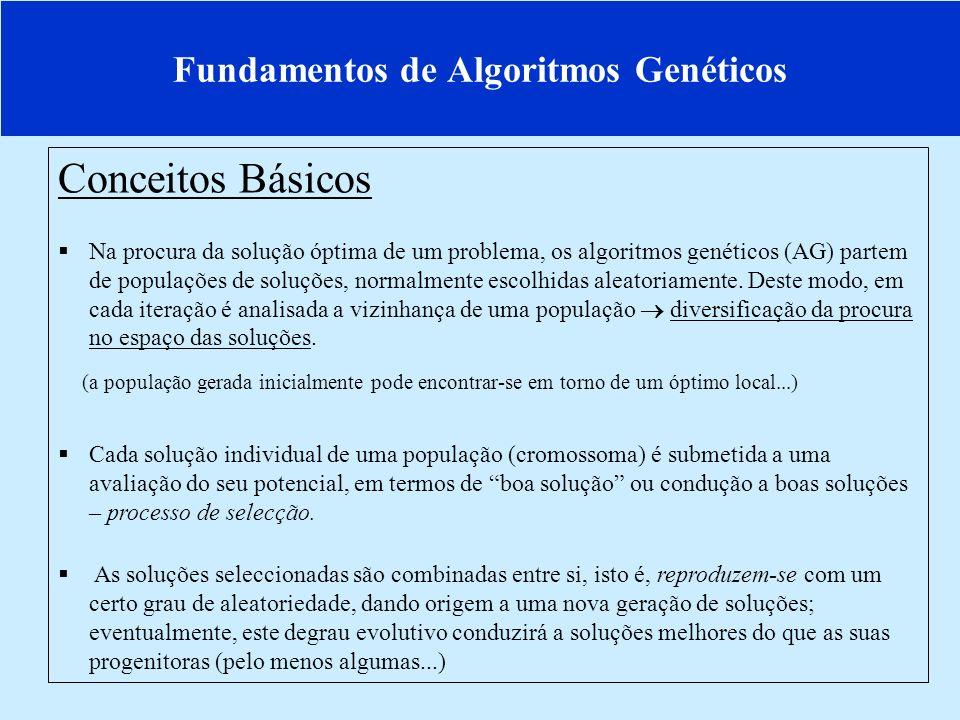 Fundamentos de Algoritmos Genéticos Conceitos Básicos Na procura da solução óptima de um problema, os algoritmos genéticos (AG) partem de populações de soluções, normalmente escolhidas aleatoriamente.