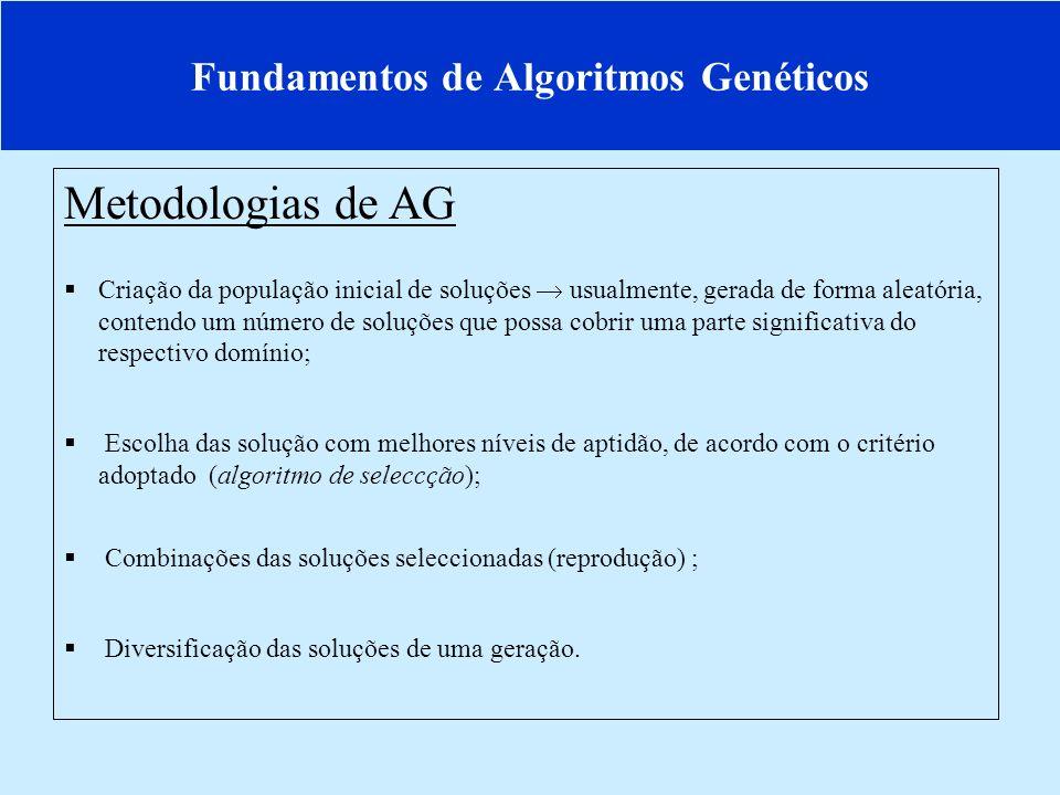 Fundamentos de Algoritmos Genéticos Metodologias de AG Criação da população inicial de soluções usualmente, gerada de forma aleatória, contendo um número de soluções que possa cobrir uma parte significativa do respectivo domínio; Escolha das solução com melhores níveis de aptidão, de acordo com o critério adoptado (algoritmo de seleccção); Combinações das soluções seleccionadas (reprodução) ; Diversificação das soluções de uma geração.