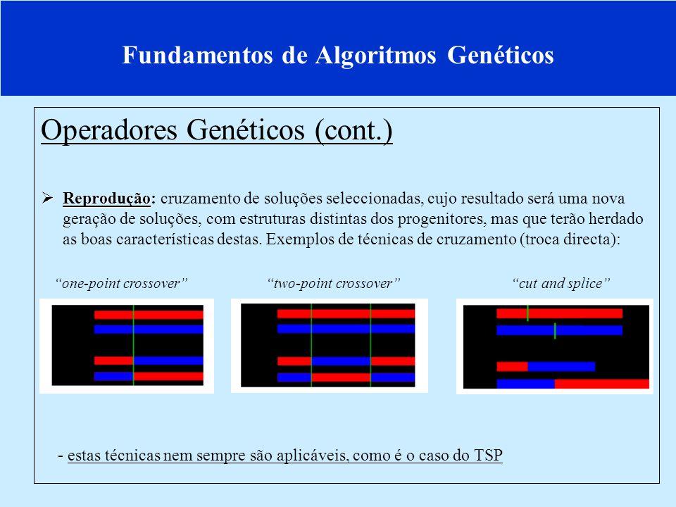 Fundamentos de Algoritmos Genéticos Operadores Genéticos (cont.) Mutação Mutação: modificação de uma sequência particular de uma solução (ou grupo de soluções) pertencente à geração actual diversificação, bem como redução do risco de convergência para óptimos locais.