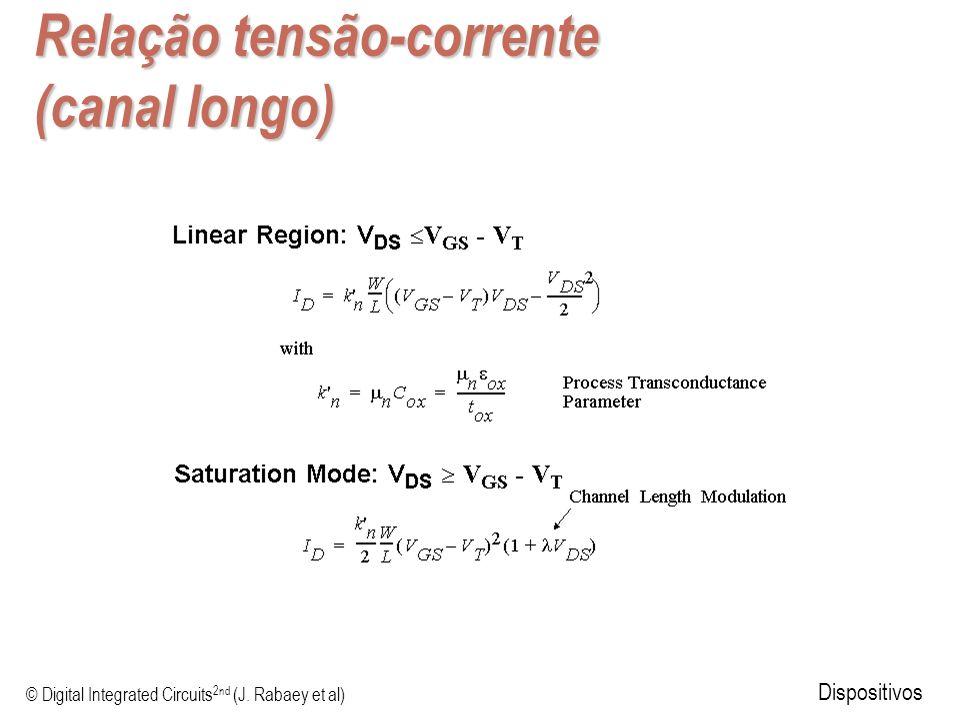© Digital Integrated Circuits 2nd (J. Rabaey et al) Dispositivos Relação tensão-corrente (canal longo)