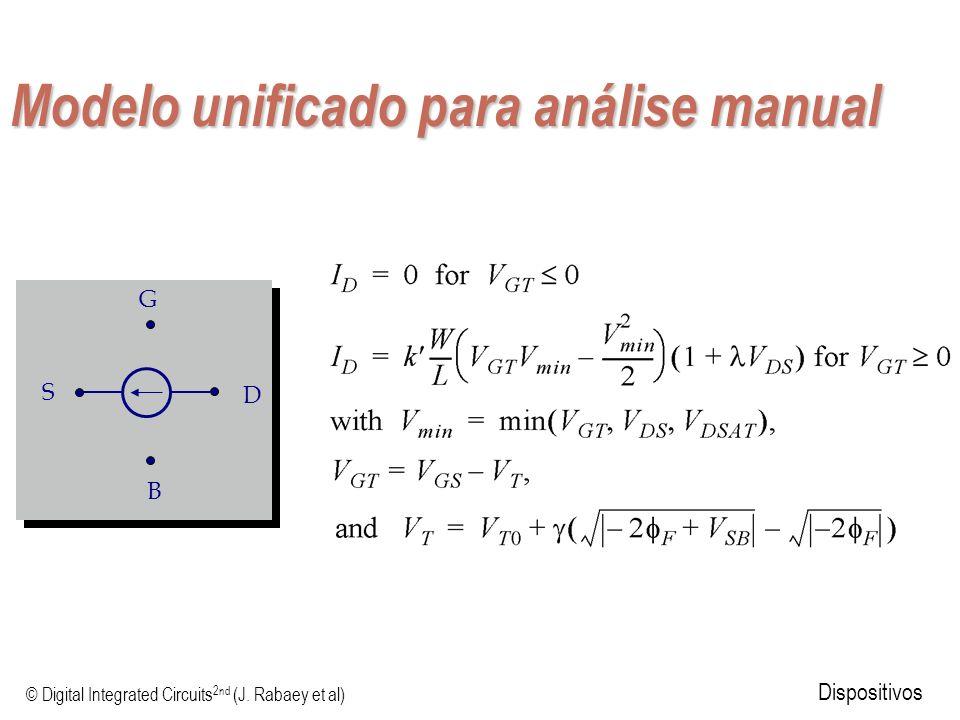 © Digital Integrated Circuits 2nd (J. Rabaey et al) Dispositivos Modelo unificado para análise manual S D G B