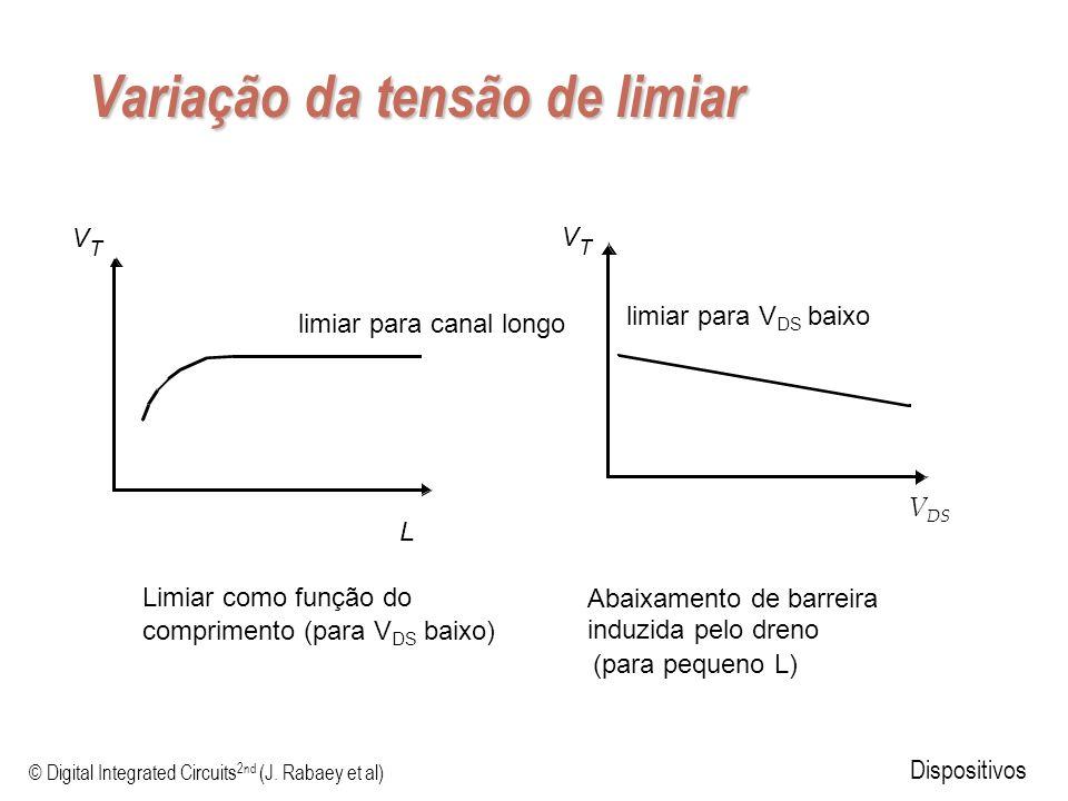 © Digital Integrated Circuits 2nd (J. Rabaey et al) Dispositivos Variação da tensão de limiar V T L limiar para canal longo limiar para V DS baixo Lim