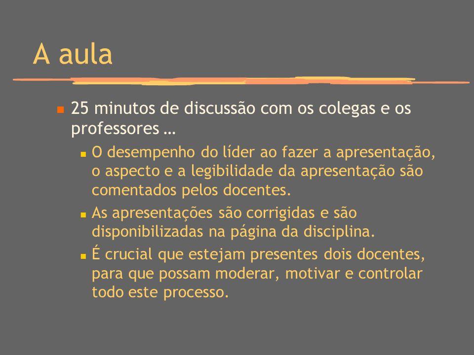 A aula 25 minutos de discussão com os colegas e os professores … O desempenho do líder ao fazer a apresentação, o aspecto e a legibilidade da apresentação são comentados pelos docentes.