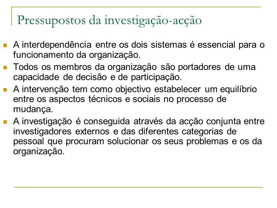 Abordagem sociotécnica Método da investigação-acção. Este método consiste num programa de estudos, experimentação e acção tendo em vista a resolução d