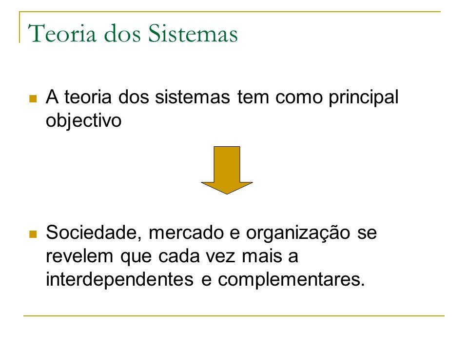 Teoria dos Sistemas A teoria dos sistemas tem como principal objectivo Sociedade, mercado e organização se revelem que cada vez mais a interdependentes e complementares.