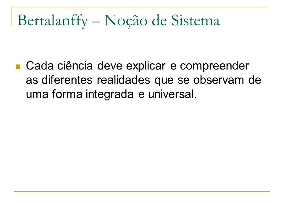 Bertalanffy – Noção de Sistema Cada ciência deve explicar e compreender as diferentes realidades que se observam de uma forma integrada e universal.