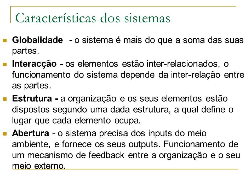 Características dos sistemas Globalidade - o sistema é mais do que a soma das suas partes.