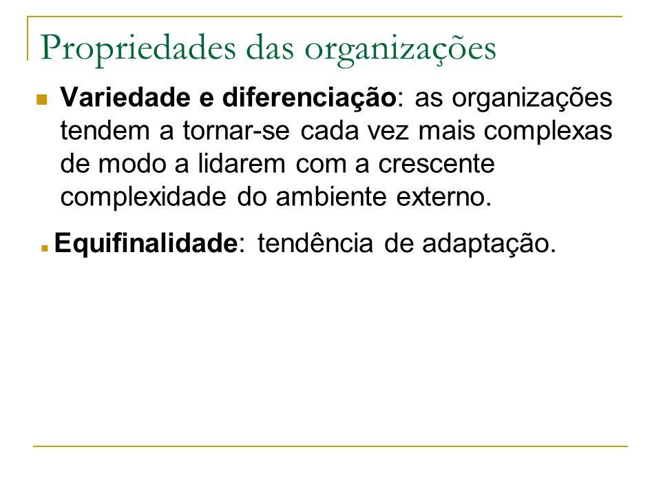 Propriedades das organizações Variedade e diferenciação: as organizações tendem a tornar-se cada vez mais complexas de modo a lidarem com a crescente complexidade do ambiente externo.