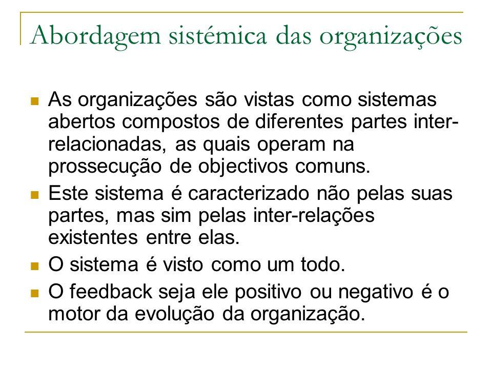 Abordagem sistémica das organizações As organizações são vistas como sistemas abertos compostos de diferentes partes inter- relacionadas, as quais operam na prossecução de objectivos comuns.
