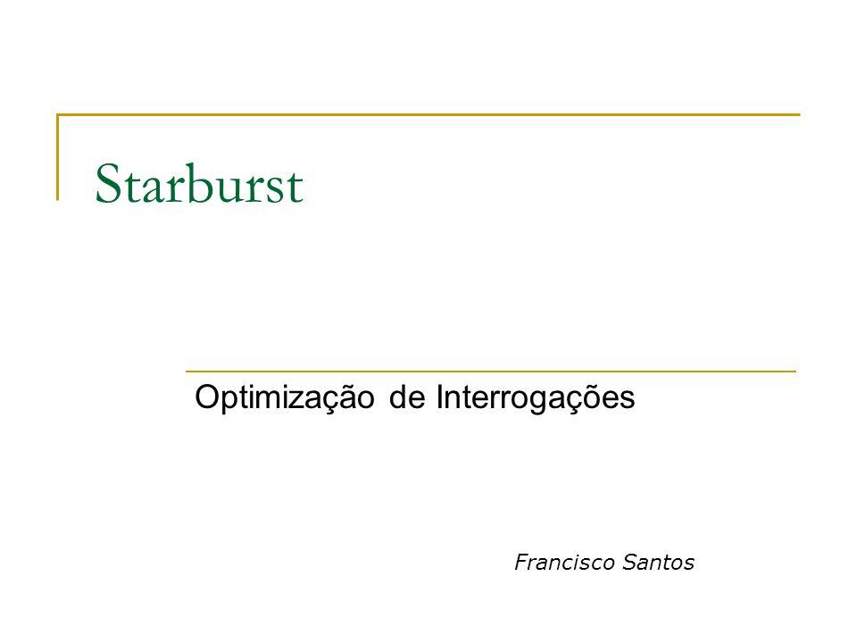 Agenda Introdução Objectivo do Starburst Processamento Interrogações Query Graph Model Reescrita de Interrogações Optimização do Plano Bibliografia