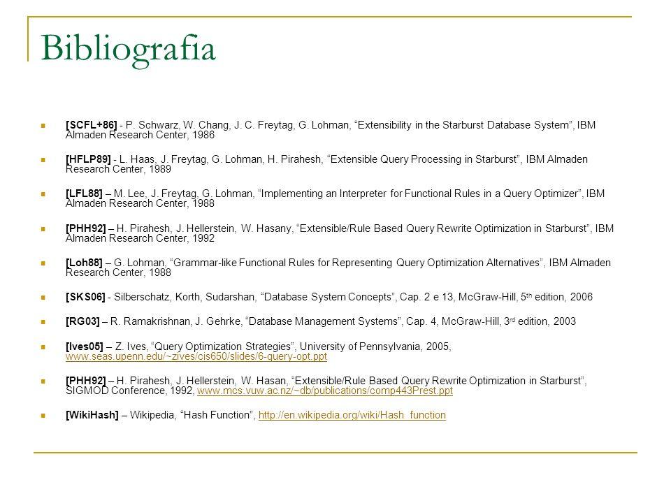 Bibliografia [SCFL+86] - P. Schwarz, W. Chang, J. C. Freytag, G. Lohman, Extensibility in the Starburst Database System, IBM Almaden Research Center,