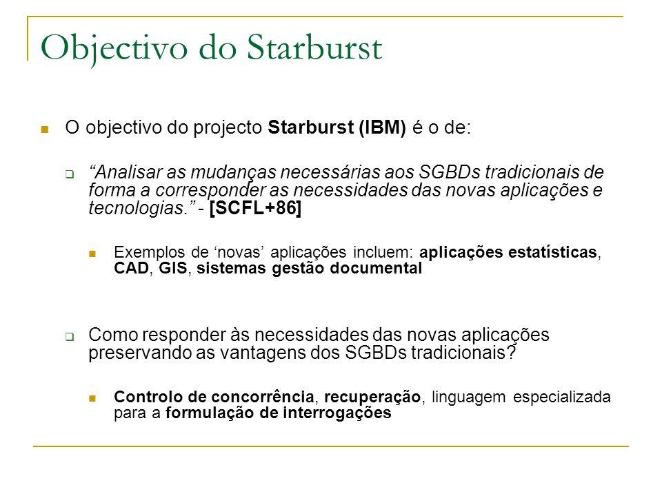 Objectivo do Starburst O objectivo do projecto Starburst (IBM) é o de: Analisar as mudanças necessárias aos SGBDs tradicionais de forma a corresponder