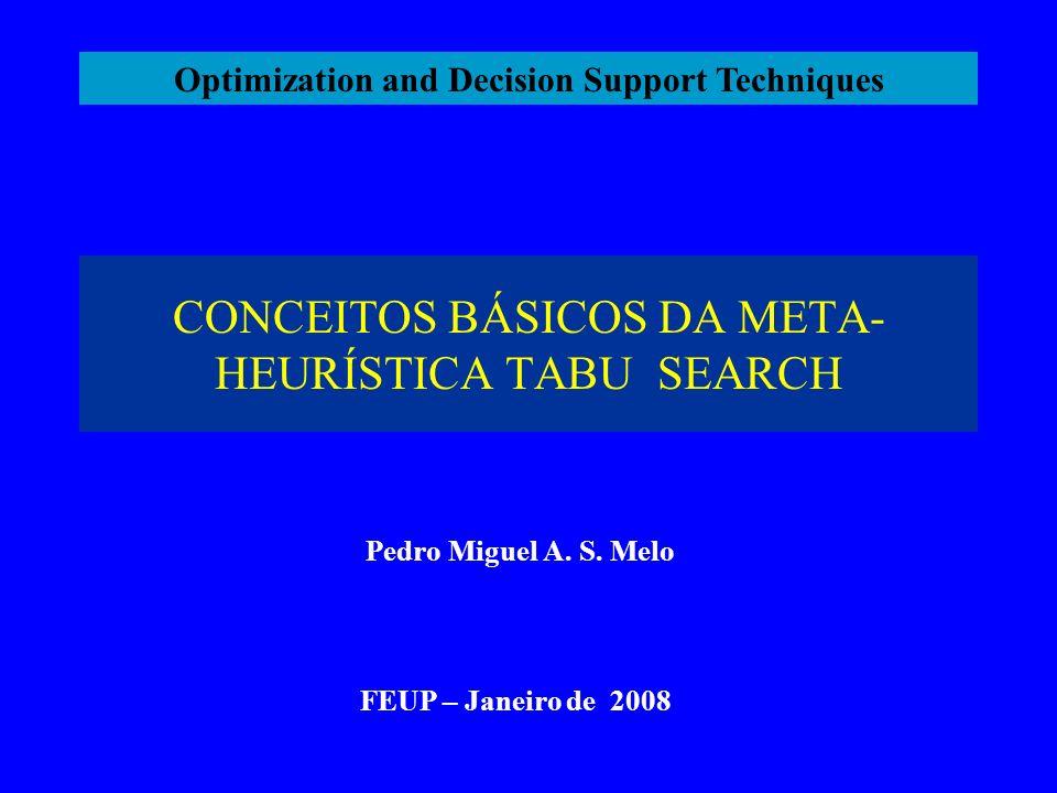 Conceitos Básicos da Meta-Heurística Tabu Search 1.Introdução As origens do método remontam à década de 70 do século XX.