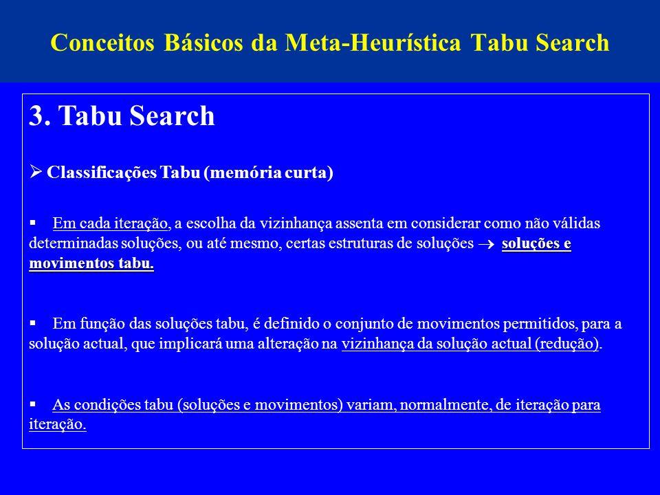 Conceitos Básicos da Meta-Heurística Tabu Search 3. Tabu Search Classificações Tabu (memória curta) soluções e movimentos tabu. Em cada iteração, a es