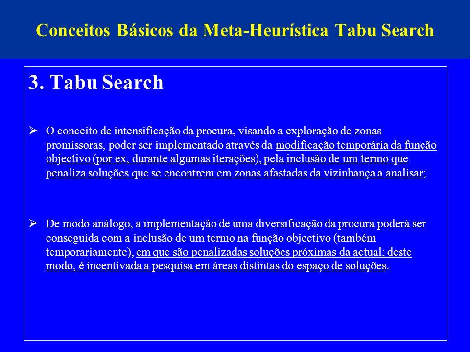 Conceitos Básicos da Meta-Heurística Tabu Search 3. Tabu Search O conceito de intensificação da procura, visando a exploração de zonas promissoras, po