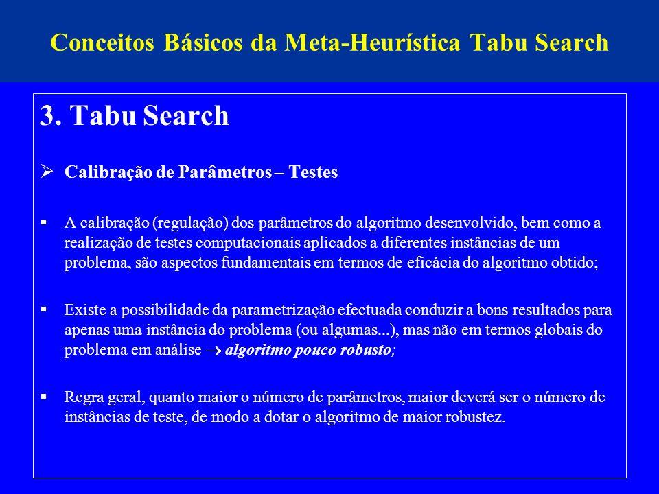 Conceitos Básicos da Meta-Heurística Tabu Search 3. Tabu Search Calibração de Parâmetros – Testes A calibração (regulação) dos parâmetros do algoritmo