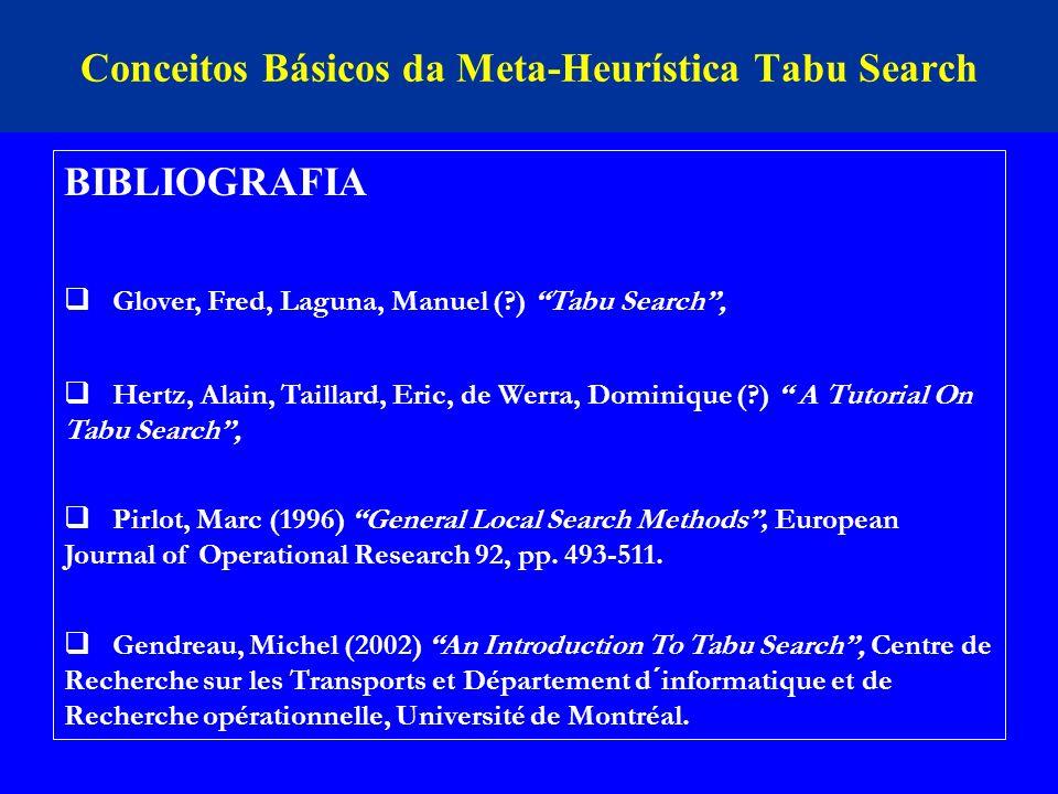 Conceitos Básicos da Meta-Heurística Tabu Search BIBLIOGRAFIA Glover, Fred, Laguna, Manuel (?) Tabu Search, Hertz, Alain, Taillard, Eric, de Werra, Do