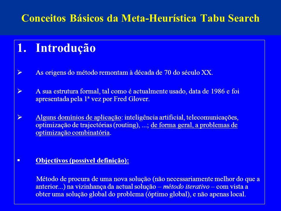 Conceitos Básicos da Meta-Heurística Tabu Search 1.Introdução As origens do método remontam à década de 70 do século XX. A sua estrutura formal, tal c