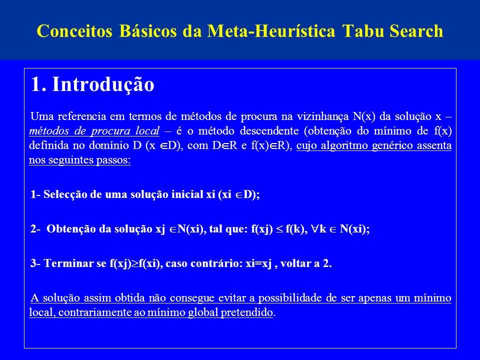 Conceitos Básicos da Meta-Heurística Tabu Search 1. Introdução Uma referencia em termos de métodos de procura na vizinhança N(x) da solução x – método