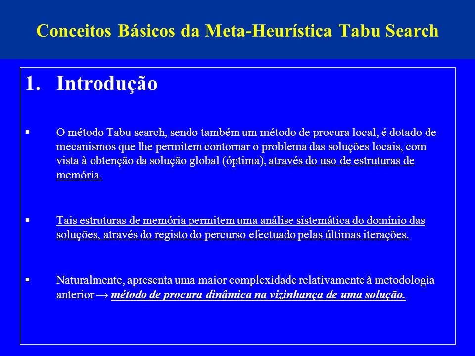 Conceitos Básicos da Meta-Heurística Tabu Search 1.Introdução O método Tabu search, sendo também um método de procura local, é dotado de mecanismos qu