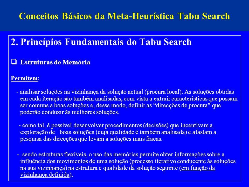 Conceitos Básicos da Meta-Heurística Tabu Search 2. Princípios Fundamentais do Tabu Search Estruturas de Memória Permitem: - analisar soluções na vizi