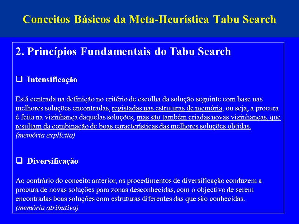 Conceitos Básicos da Meta-Heurística Tabu Search 2. Princípios Fundamentais do Tabu Search Intensificação Está centrada na definição no critério de es