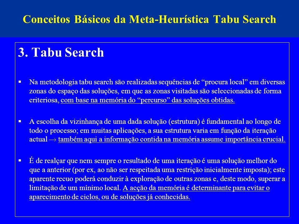 Conceitos Básicos da Meta-Heurística Tabu Search 3. Tabu Search Na metodologia tabu search são realizadas sequências de procura local em diversas zona