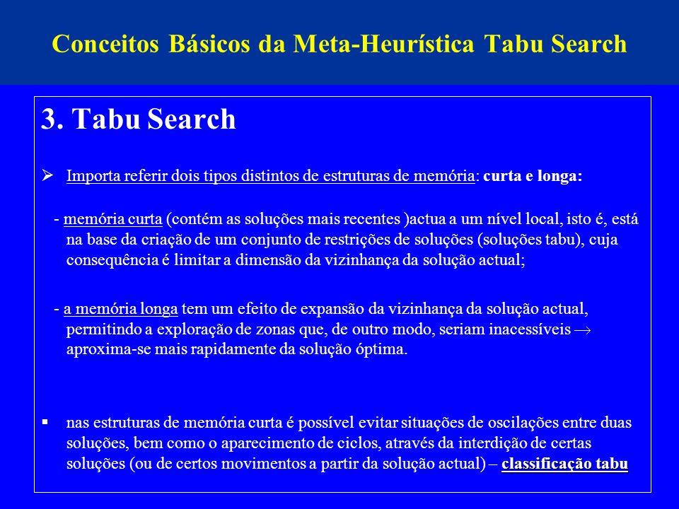 Conceitos Básicos da Meta-Heurística Tabu Search 3. Tabu Search Importa referir dois tipos distintos de estruturas de memória: curta e longa: - memóri