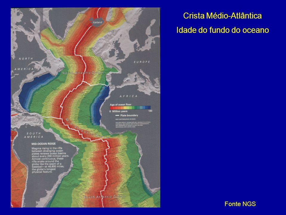 Crista Médio-Atlântica Idade do fundo do oceano Fonte NGS