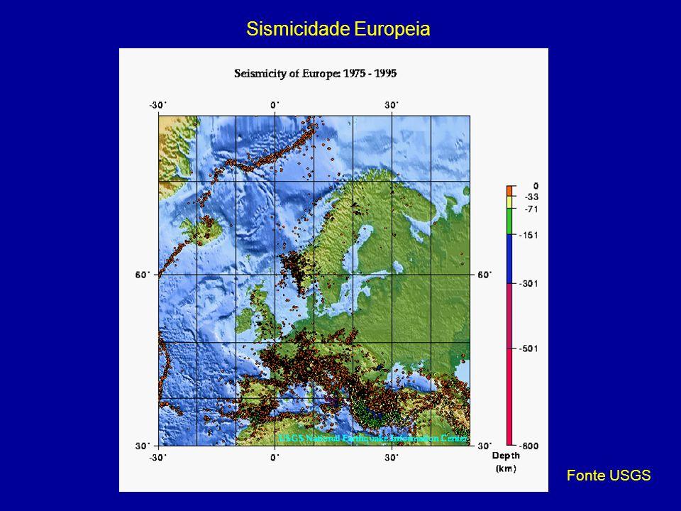 Sismicidade Europeia Fonte USGS