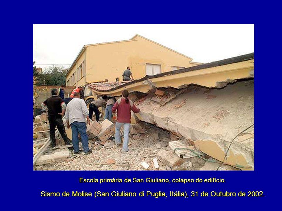 Escola primária de San Giuliano, colapso do edifício. Sismo de Molise (San Giuliano di Puglia, Itália), 31 de Outubro de 2002.