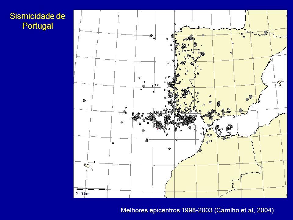 Melhores epicentros 1998-2003 (Carrilho et al, 2004) Sismicidade de Portugal