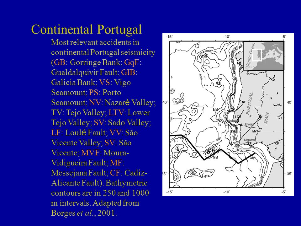 Continental Portugal Most relevant accidents in continental Portugal seismicity (GB: Gorringe Bank; GqF: Gualdalquivir Fault; GIB: Galicia Bank; VS: V