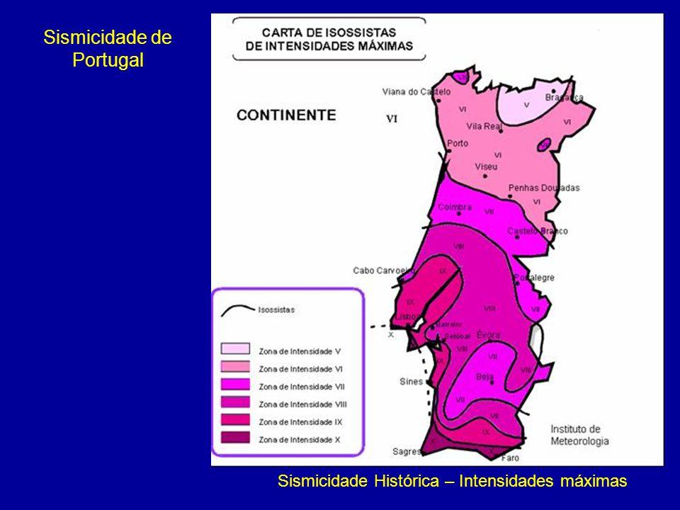 Sismicidade Histórica – Intensidades máximas Sismicidade de Portugal