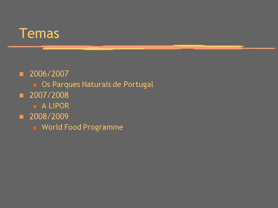 Temas 2006/2007 Os Parques Naturais de Portugal 2007/2008 A LIPOR 2008/2009 World Food Programme