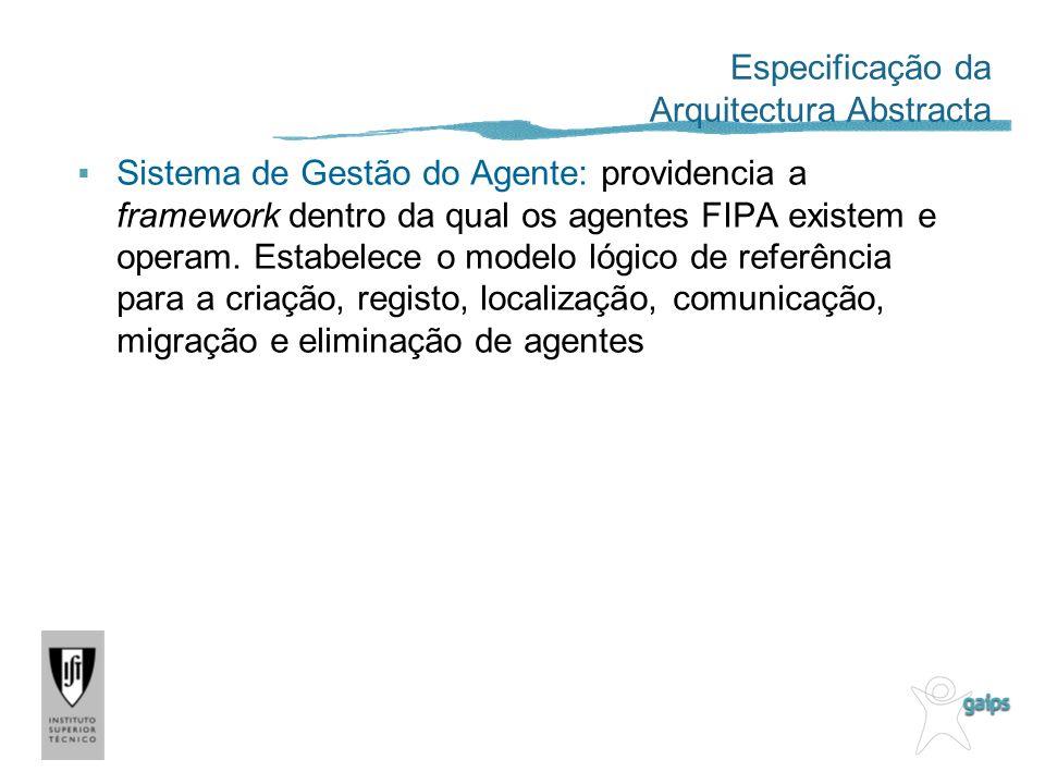 Sistema de Gestão do Agente: providencia a framework dentro da qual os agentes FIPA existem e operam.