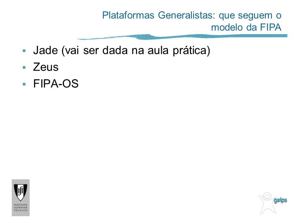 Jade (vai ser dada na aula prática) Zeus FIPA-OS Plataformas Generalistas: que seguem o modelo da FIPA