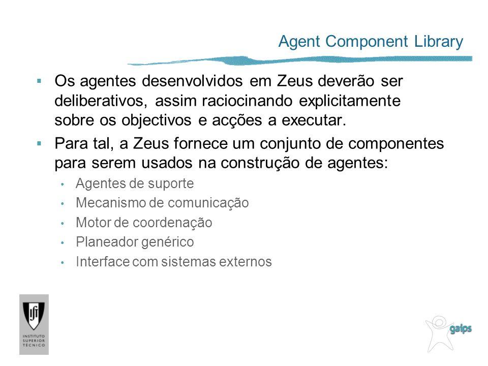 Agent Component Library Os agentes desenvolvidos em Zeus deverão ser deliberativos, assim raciocinando explicitamente sobre os objectivos e acções a executar.
