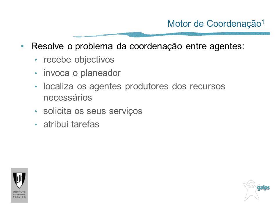 Motor de Coordenação 1 Resolve o problema da coordenação entre agentes: recebe objectivos invoca o planeador localiza os agentes produtores dos recursos necessários solicita os seus serviços atribui tarefas