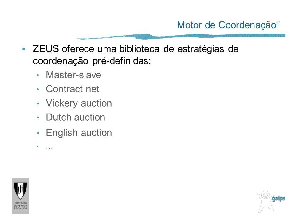 Motor de Coordenação 2 ZEUS oferece uma biblioteca de estratégias de coordenação pré-definidas: Master-slave Contract net Vickery auction Dutch auction English auction...