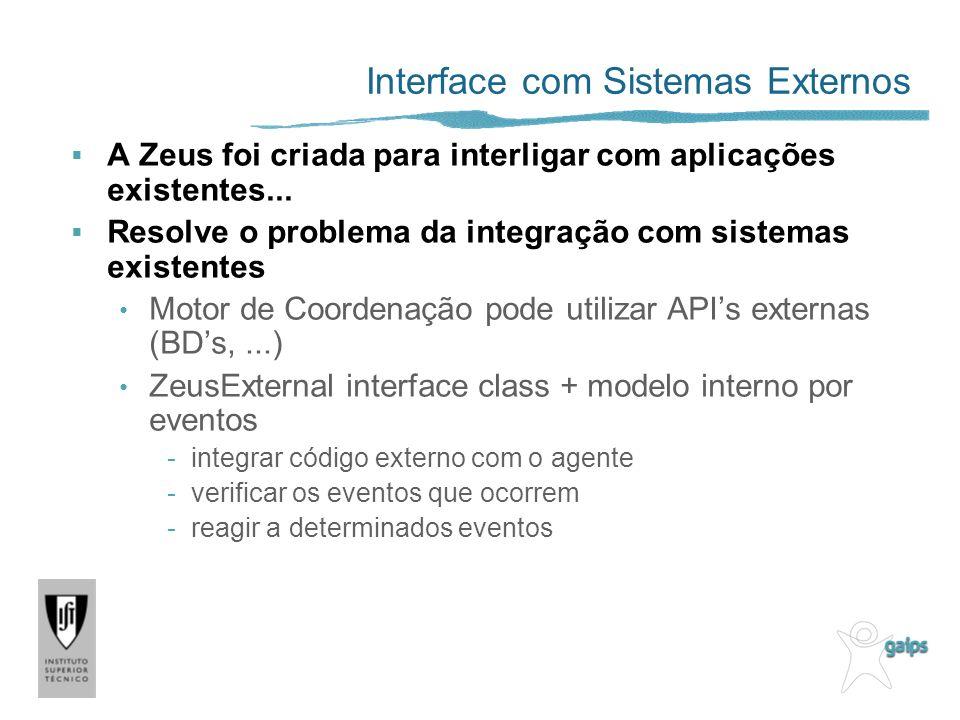 Interface com Sistemas Externos A Zeus foi criada para interligar com aplicações existentes...