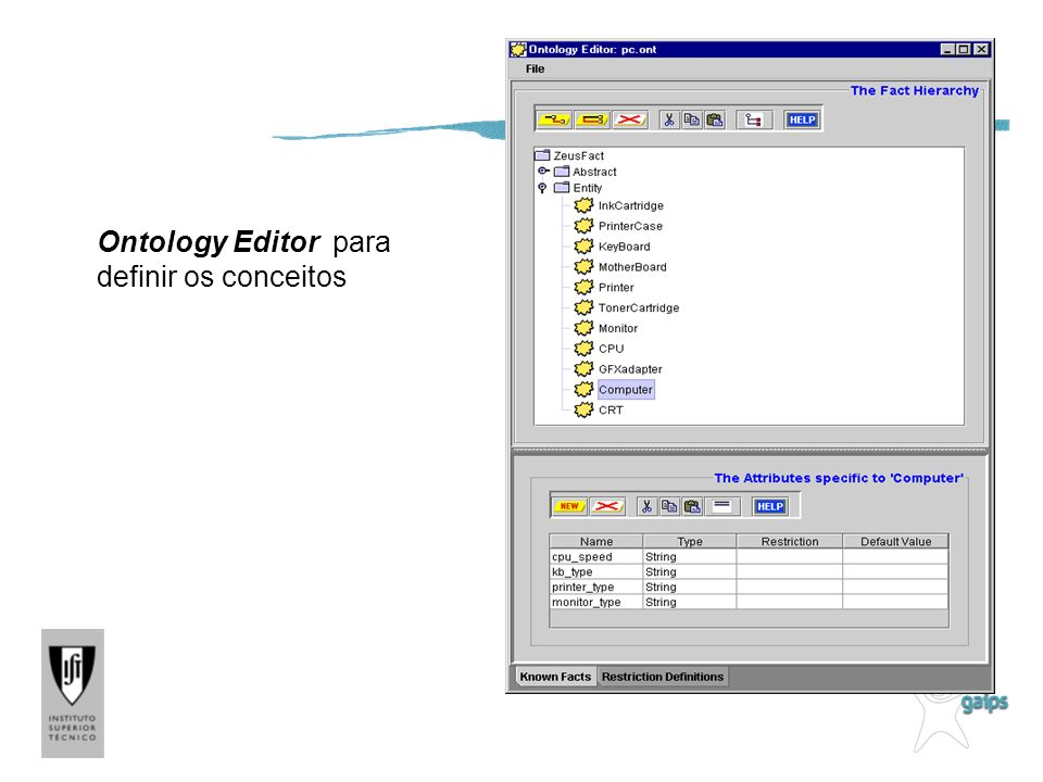 Editor de Ontologias Ontology Editor para definir os conceitos