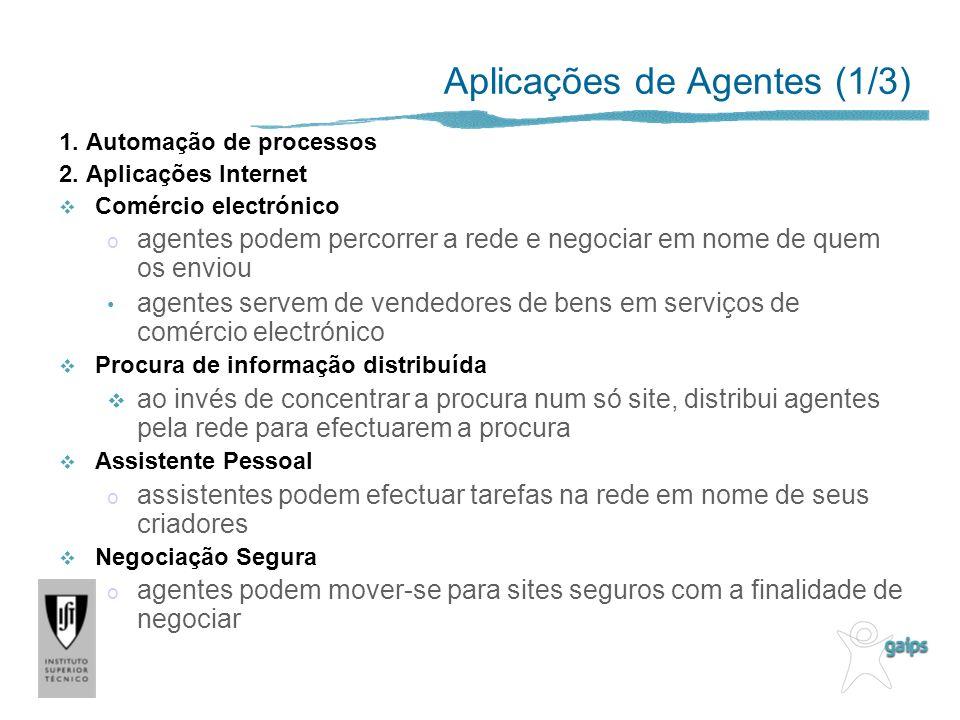 Aplicações de Agentes (1/3) 1.Automação de processos 2.