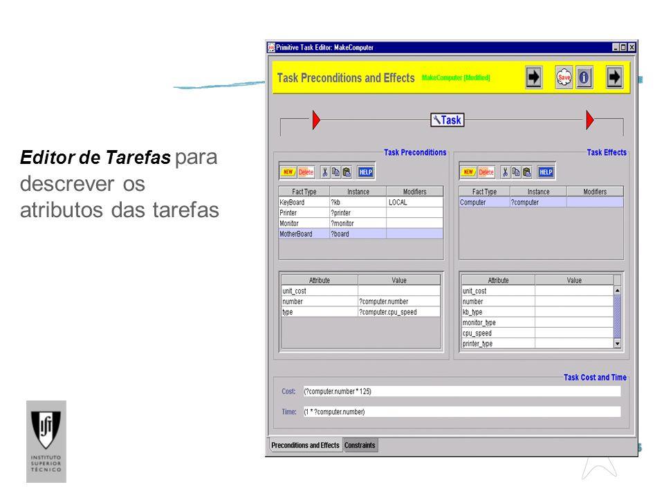 Editor de Descrição de Tarefas Editor de Tarefas para descrever os atributos das tarefas